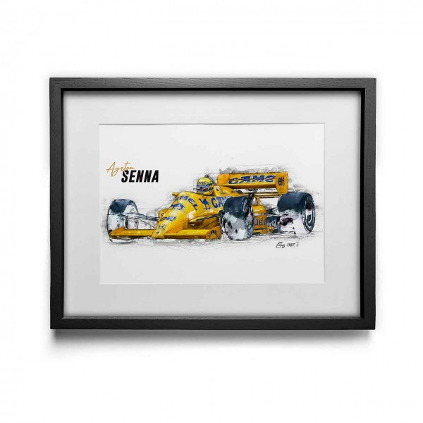 Artwork Print - framed - Ayrton Senna - Lotus - 1987