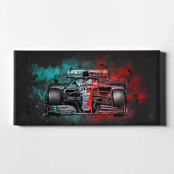 Artwork Leinwanddruck Motiv: Lewis Hamilton & Sebastian Vettel - 2019