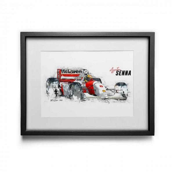 Kunstdruck gerahmt - Ayrton Senna - McLaren - 1993