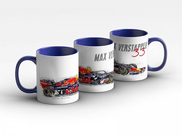 Formel 1 Tasse - Max Verstappen - Aston Martin RB Racing 2020 - Silhouette Kaffeebecher