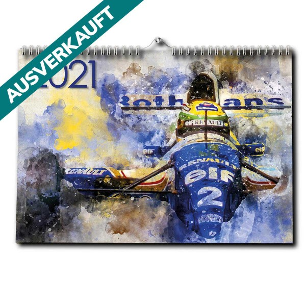 Ayrton Senna Calendar 2021 Premium Wall Calendar Artwork Edition DINA3 Formula 1 Legend