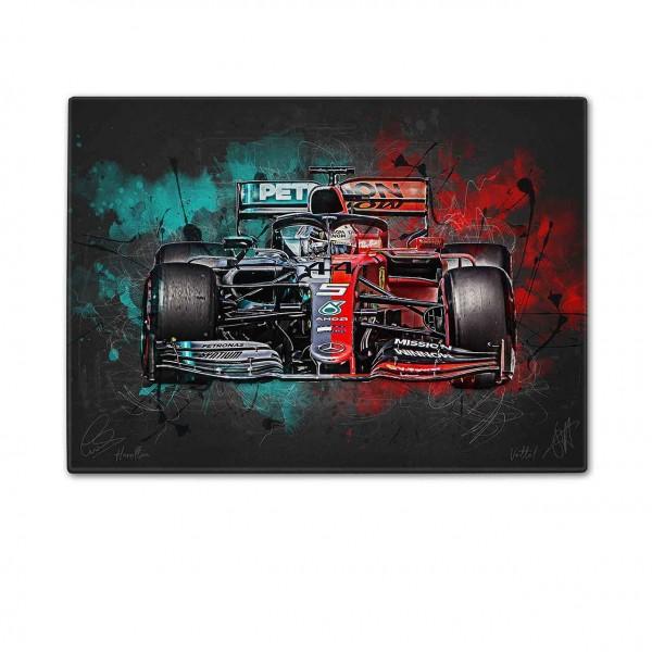 Schneidebrett Artwork Motiv: Formel1 Lewis Hamilton & Sebastian Vettel - Mercedes - Ferrari - 2019
