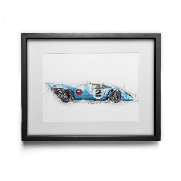 Artwork Print - framed - Porsche 917K Gulf - 1970