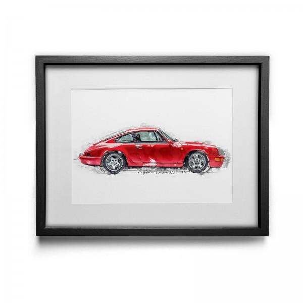 Kunstdruck mit Rahmen Motiv: Porsche 911 Carrera RS - 1992