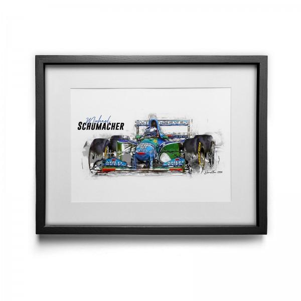 Kunstdruck gerahmt - Michael Schumacher - Benetton - 1994