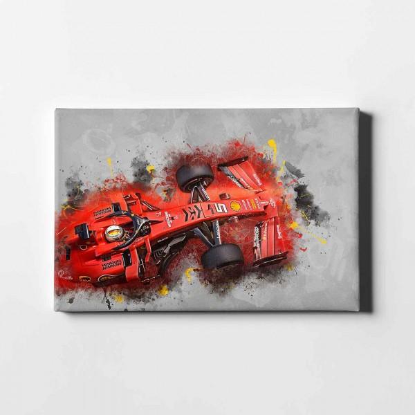 Artwork Leinwanddruck Motiv: Sebastian Vettel - Ferrari