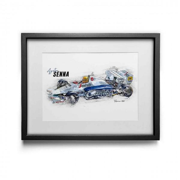 Kunstdruck gerahmt - Ayrton Senna - Toleman - 1984