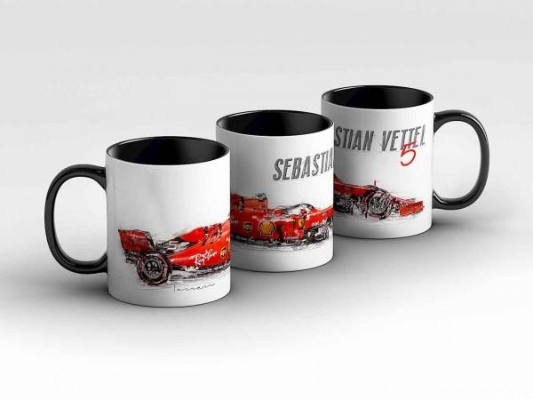 Tasse Motiv: Formel1 Sebastian Vettel - Scuderia Ferrari Mission Winnow - Silhouette Kaffeebecher