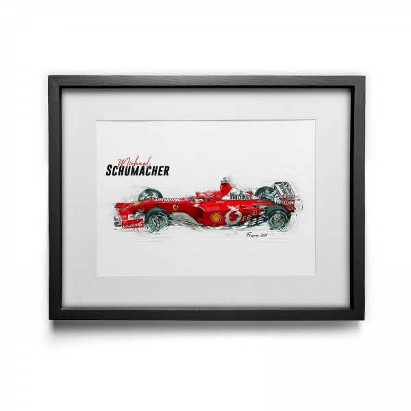 Kunstdruck mit Rahmen Motiv: Michael Schumacher - Scuderia Ferrari - 2001