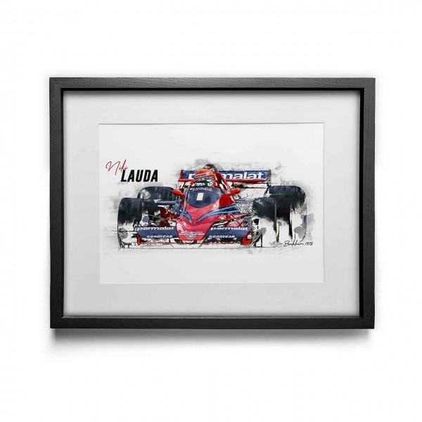 Kunstdruck gerahmt - Niki Lauda - Brabham - 1978