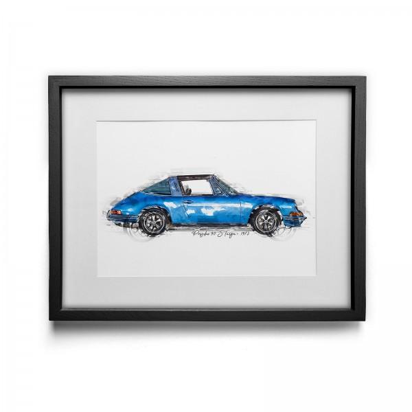 Artwork Print - framed - Porsche 911 S Targa - 1973