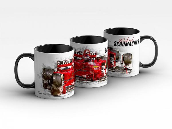 Tasse Motiv: Formel1 Michael Schumacher - Scuderia Ferrari - 1997 Front Kaffeebecher