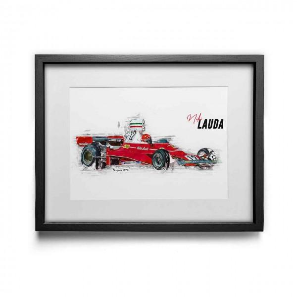 Kunstdruck gerahmt - Niki Lauda - Scuderia Ferrari - 1975