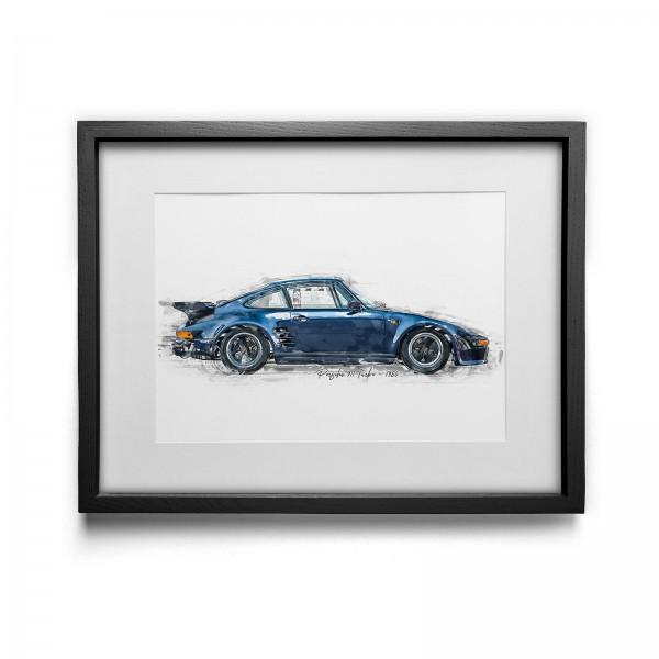 Kunstdruck gerahmt - Porsche 911 Turbo - 1986