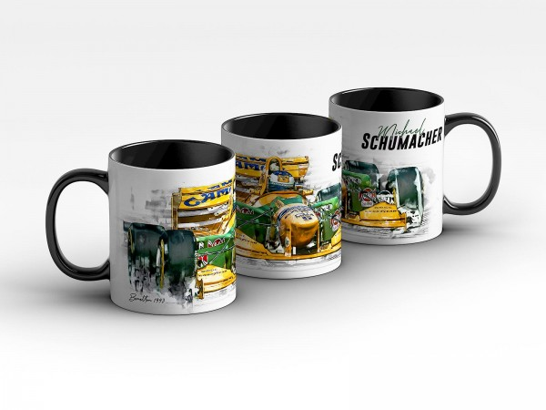 Tasse Motiv: Formel1 Michael Schumacher - Benetton - 1993 Front Kaffeebecher