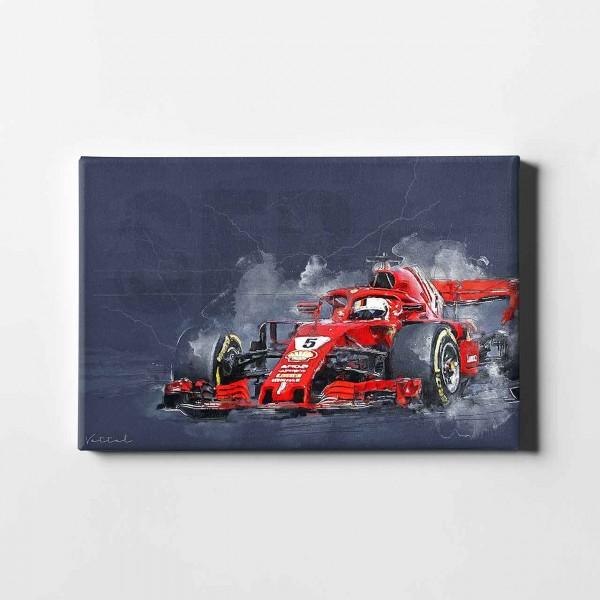 Artwork Leinwanddruck Motiv: Sebastian Vettel - Ferrari - 2019