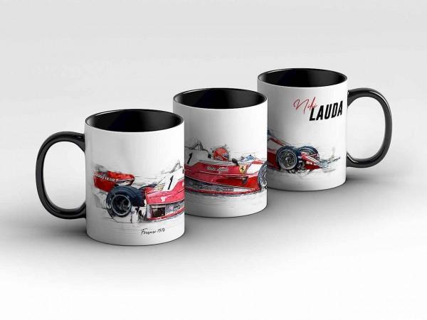 Tasse Motiv: Formel1 Niki Lauda - Scuderia Ferrari - 1976 - Silhouette Kaffeebecher