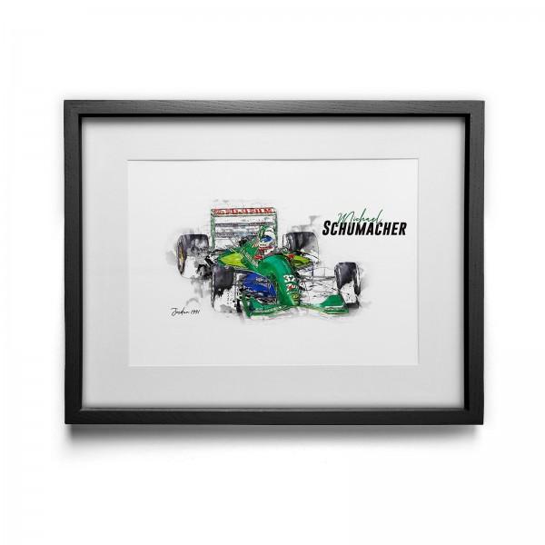 Kunstdruck mit Rahmen Motiv: Michael Schumacher - Jordan - 1991