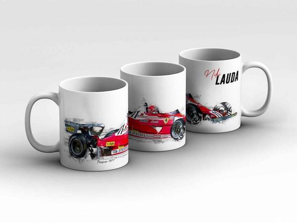 Tasse Motiv: Formel1 Niki Lauda - Scuderia Ferrari - 1977 - Silhouette Kaffeebecher