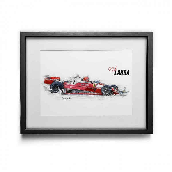 Kunstdruck mit Rahmen Motiv: Niki Lauda - Scuderia Ferrari - 1976