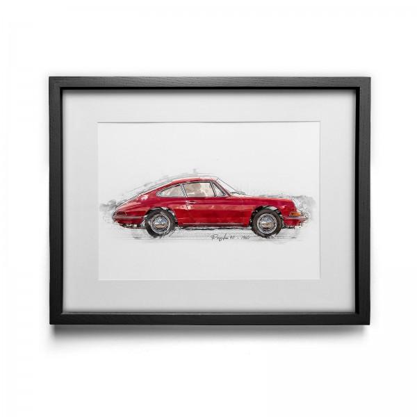Kunstdruck gerahmt - Porsche 911 - 1965