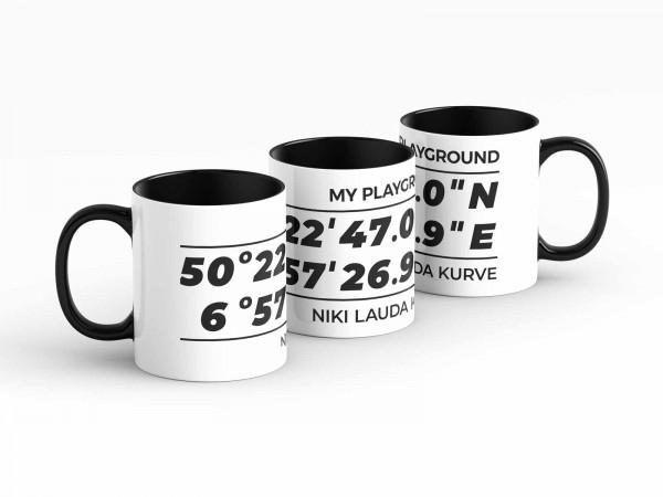 Tasse - GPS Koordinaten - Niki Lauda Kurve - Kaffeebecher