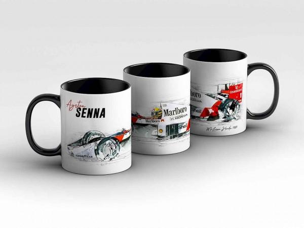 Tasse Motiv: Formel1 Ayrton Senna - McLaren Honda - 1989 - Silhouette Kaffeebecher