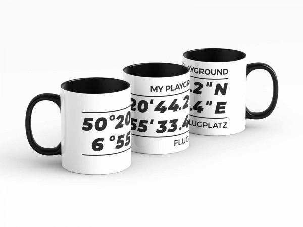 Tasse - GPS Koordinaten - Flugplatz - Kaffeebecher