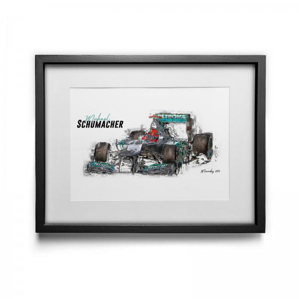 Artwork print - framed - Michael Schumacher - Mercedes GP Petronas - 2012