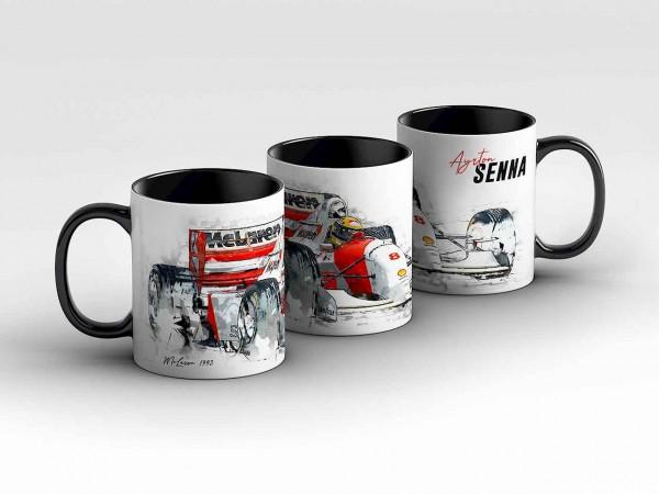 Tasse Motiv: Formel1 Ayrton Senna - McLaren MP4/8 - 1993 - Front Kaffeebecher