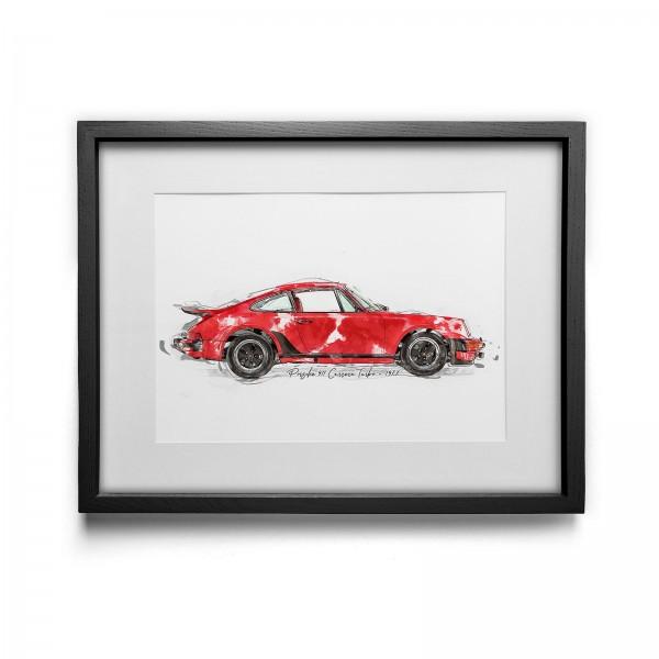 Kunstdruck gerahmt - Porsche Carrera Turbo - 1977