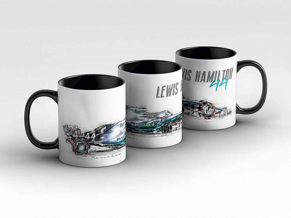 Tasse Motiv: Formel1 Lewis Hamilton - Mercedes AMG Petronas Motorsport - Silhouette Kaffeebecher