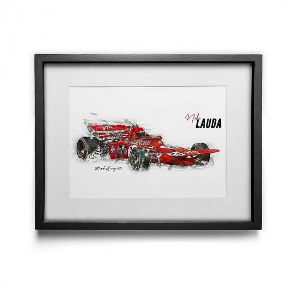 Kunstdruck mit Rahmen Motiv: Niki Lauda - March - 1971