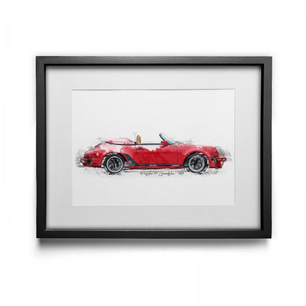 Artwork Print - framed - Porsche 911 Speedster - 1989 - open
