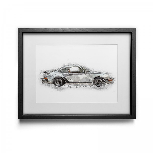 Artwork Print - framed - Porsche 911 Carrera Turbo - 1976