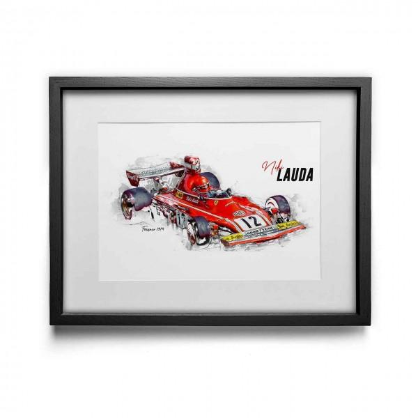 Kunstdruck gerahmt - Niki Lauda - Scuderia Ferrari - 1974