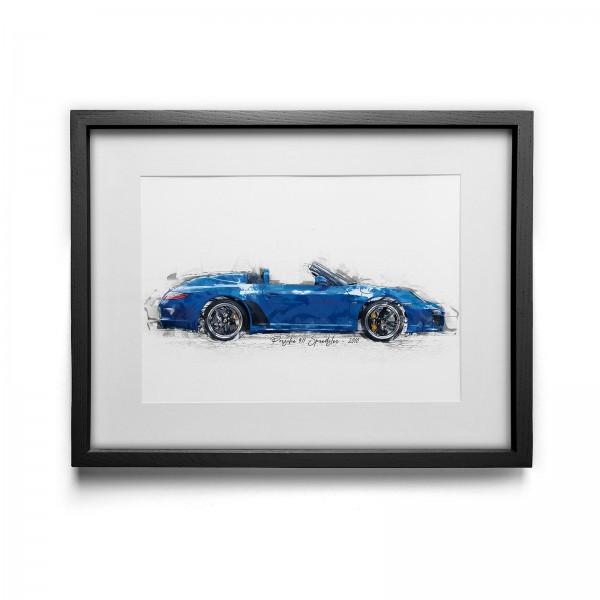 Kunstdruck mit Rahmen Motiv: Porsche 911 Speedster - 2010