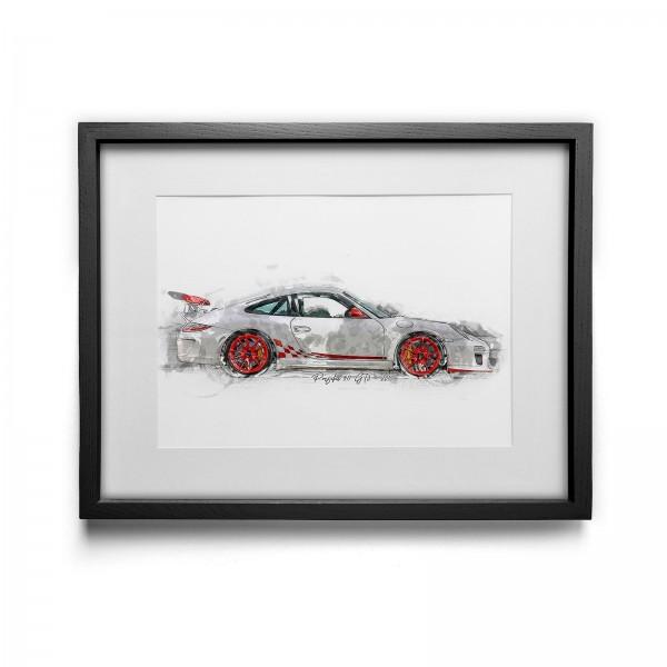 Kunstdruck gerahmt - Porsche 911 GT3 - 2010